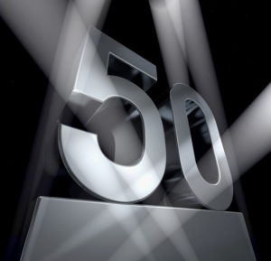 spotlighted monument of the number 50, 3d