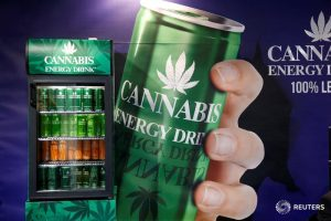Cans of Cannabis energy drink which contains real hemp seed extract are seen at the food exhibition Sial in Villepinte, near Paris, France, October 17, 2016. REUTERS/Charles Platiau - RTX2P7G3