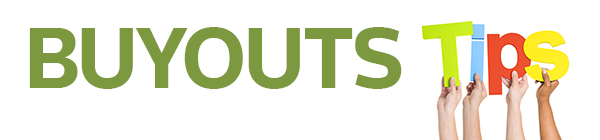 Composite by Allison Brown for Buyouts Insider. Buyouts logo plus iStock art showing Multi-Ethnic Group Of People's Arms Raised Holding Letters That Form Tips