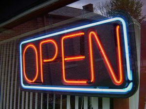 open sign, neon, open for business