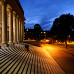 Harvard University at night