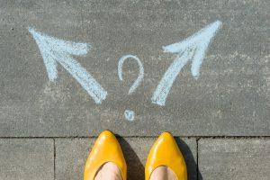 choice concept, pick a direction, option