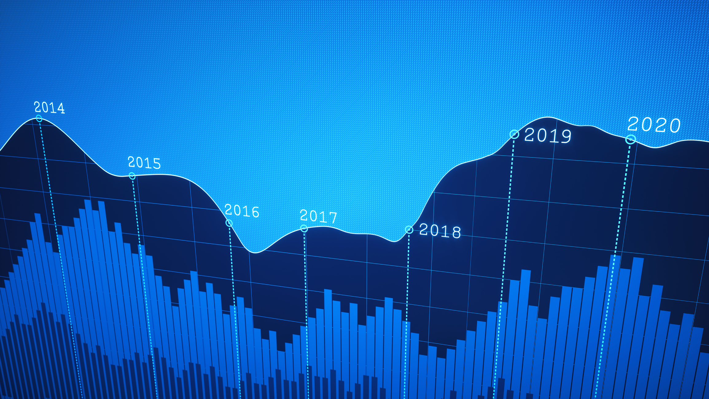 Simple Yearly Timeline Graph Report in Blue