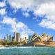The city skyline of Sydney, Australia. Circular Quay and Opera House.