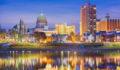 Harrisburg, Pennsylvania, USA downtown city skyline on the Susquehanna River