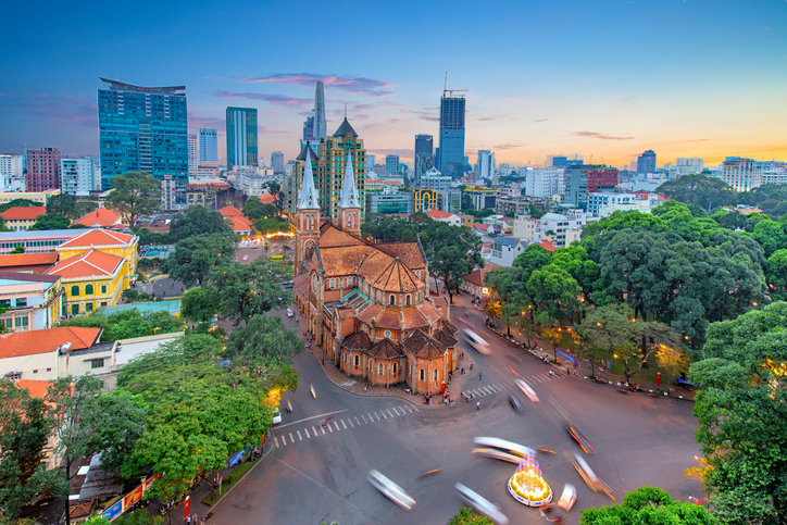 View of Notre-Dame Cathedral Basilica in Saigon, Vietnam