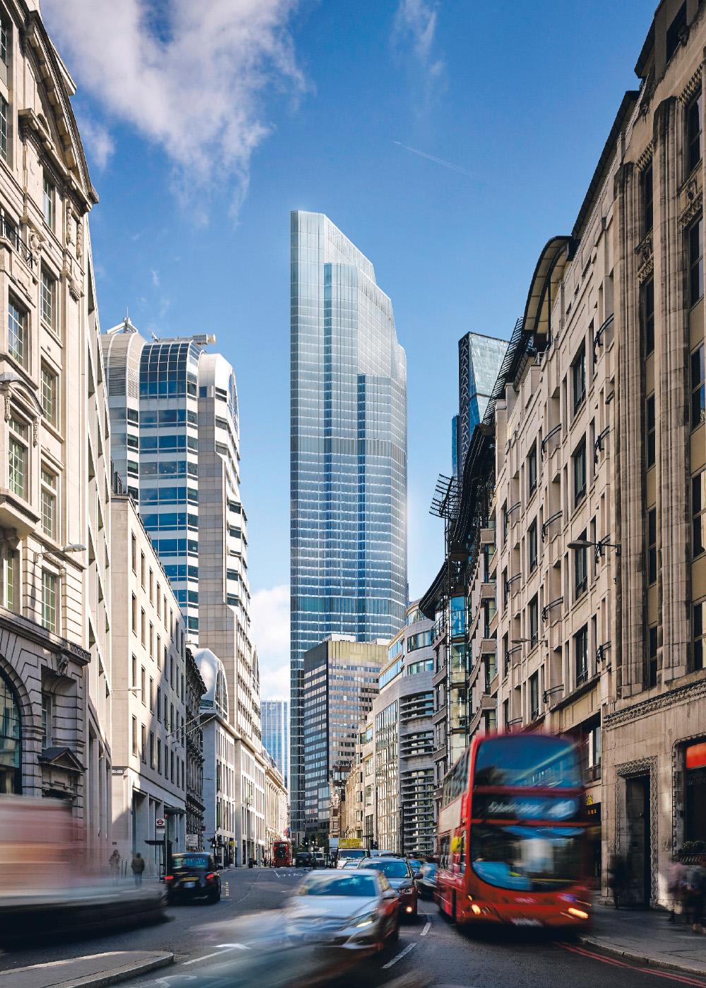Street scene of London featuring 22 Bishopsgate