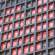 Building with heart-shaped lighting pattern