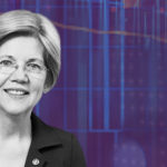 A picture of Elizabeth Warren on a purple background