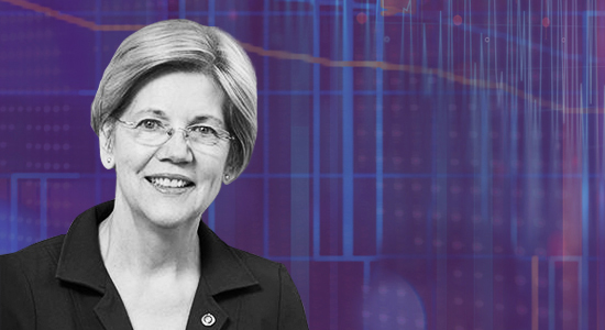A picture of Elizabeth Warren on a purple background