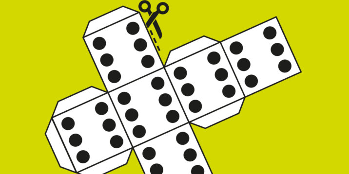 An illustration of a cut-out dice