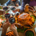 Thanksgiving dinner, toast, turkey, wine, celebration, holiday, holidays