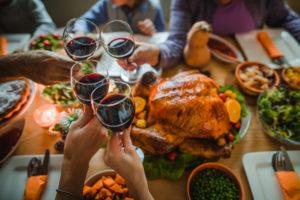 Thanksgiving dinner, toast, turkey, wine, celebration, holiday, holidays