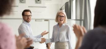 Manager praising employee