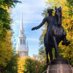 Paul revere Statue and the Old North Church, Boston, Massachusetts