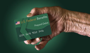 Elderly person prepaid debit card