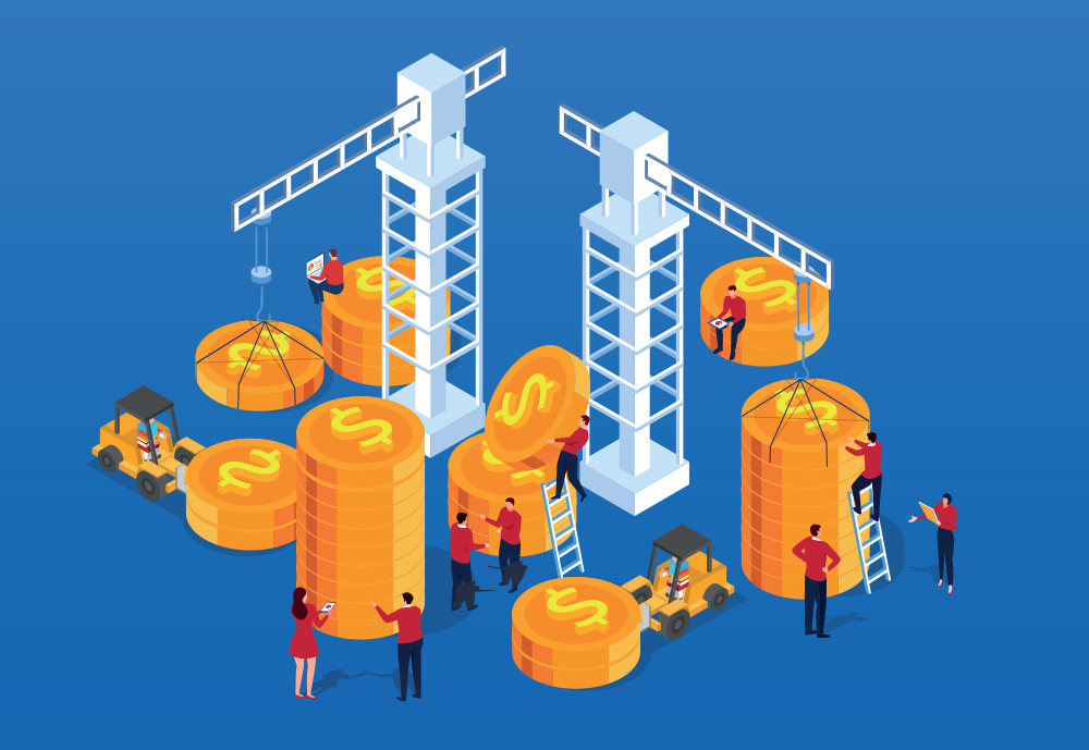 Illustration of coins and cranes