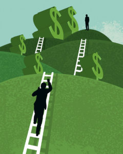 Illustration of a figure climbing up a ladder on a hill of dollars