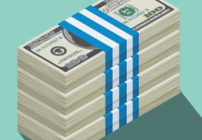 Illustration of bundles of cash