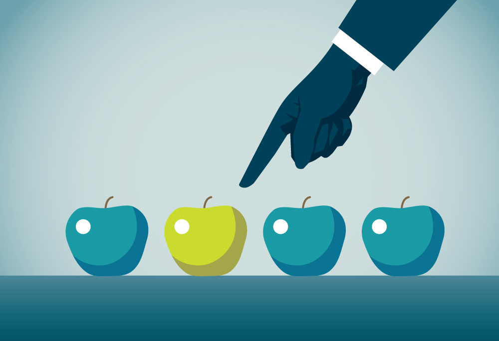 An illustration of someone pointing at apples