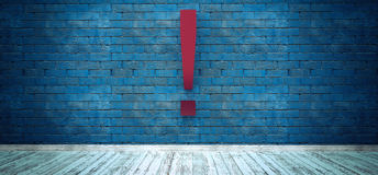 Exclamation mark symbol on blue brick wall, warning, caution