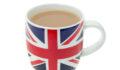 British mug full of hot tea