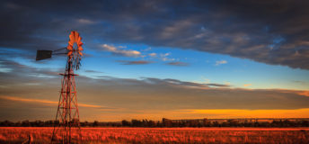 Windmill at sunset, Outback Australia