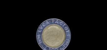 Italian lira coin bearing the portrait of Luca Pacioli (1447-1517), released by Italy in 1994 on the 500th anniversary of his treatise Summa de arithmetica (i.e. On arithmetics)