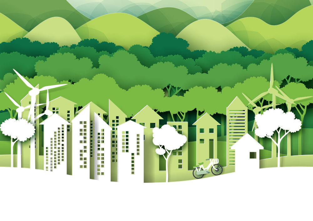 Eco green city.Save the world and environment concept.Urban forest nature landscape for green energy paper art style