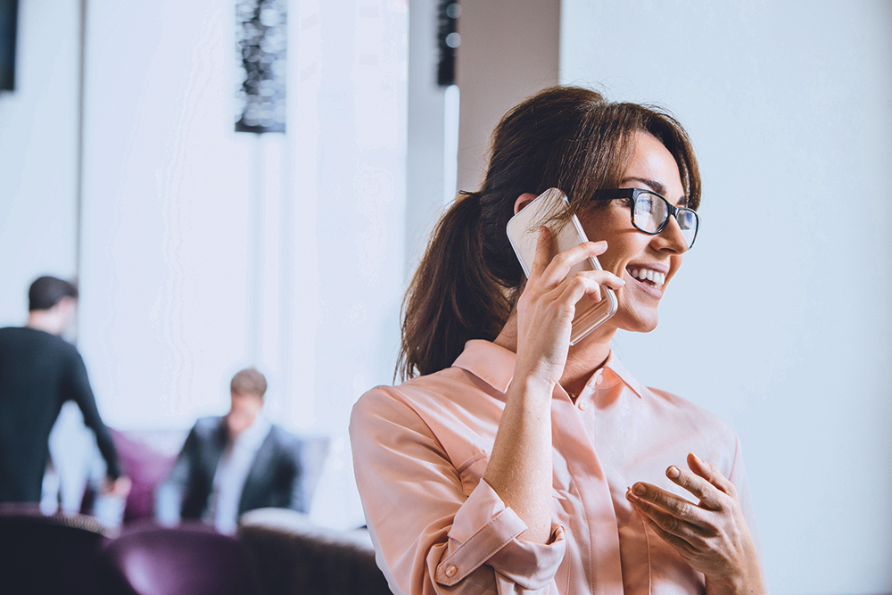 Woman having a conversation on a smartphone
