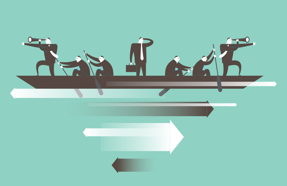 An illustration of business people rowing