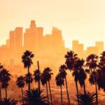 Los Angeles Cityscape Palm Trees