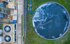 Aerial view water treatment tank with waste water