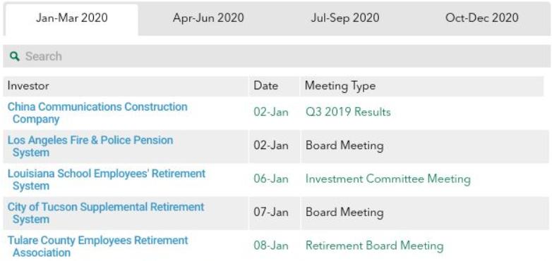 Infrastructure Investor Calendar - online