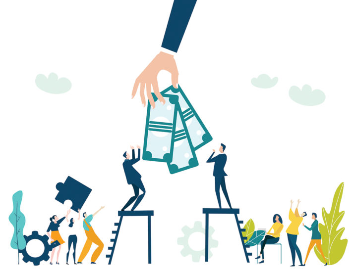 People climbing up to the success, for the better income, salary, pay raise. Business concept illustration.