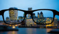 Some London buildings at night as seen from myopia glasses