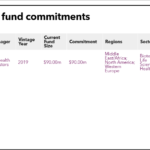 Teijin table of fund commitments