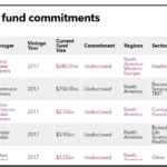 WVIMB table of fund commitments