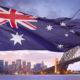 Australian flag waving over Sydney