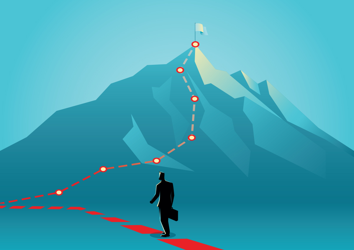 Illustration of businessman climbing a mountain