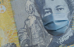 Australia bank note money covid coronavirus face mask