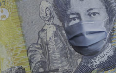 An Australian dollar with a mask