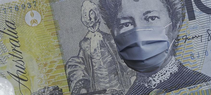 An Australian dollar with a mask