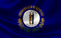 3D rendering of the flag of Kentucky on satin texture.