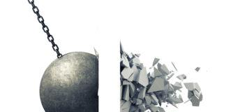 Metallic Wrecking Ball Shattering Wall, smash, destruction, barrier