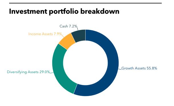 SFERS' investment portfolio breakdown.