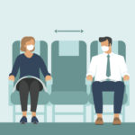 Passengers wearing protective medical masks travelby airplane.New seating regulations on flights.Travel during coronavirus COVID-19 disease outbreak.