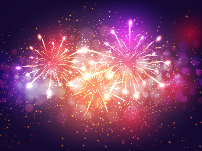 Colorful Fireworks Lighting Effect on Purple Background for Celebration Concept, happy