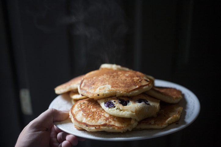 Stack of pancakes steaming