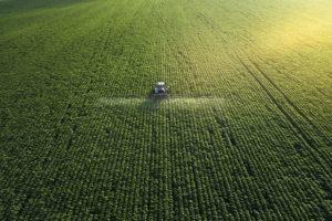 Farmland, tractor, row crops